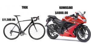 مقارنة بين سعر دراجة غالية ودراجة آلية عادية