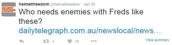 تغريدة من نشطاء الحرية من الخوذة في استراليا